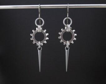 Spike Earrings, Industrial Earrings, Stainless Steel Earrings, Hypoallergenic Earrings, Washer Earrings, Hardware Jewelry, Black Cat Links