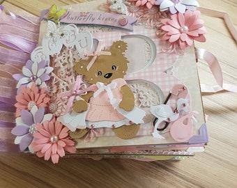 Baby girl handmade paper bag album