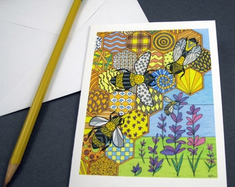 Bees Stationery Set - Set of 8 Blank Inside Card Set - Bees in a Hive notecards