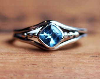 Blue topaz ring, December birthstone ring, cushion cut ring, oxidized silver ring, organic ring, sterling silver ready to ship sz 6.5