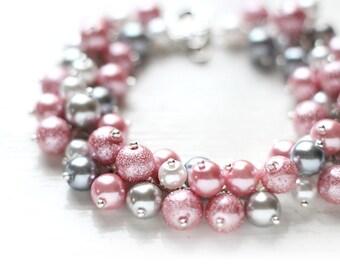 Pastel Pink and Grey Wedding Bridesmaid Jewelry Pearl Cluster Bracelet - Strawberry Milk