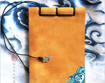 Hand Made Leather Journal, Travel Journal,Chinese art notebook,Kingfisher Blue feather wave embedded in the leather