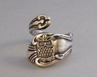 Hoots,Ring,Owl,Spoon Ring,Owl spoon ring,Silver,Bird,Owl Ring,Owl,Woodland,Tree Owl,Antique Ring,Silver Ring,Spoon Ring, valleygirldesigns.