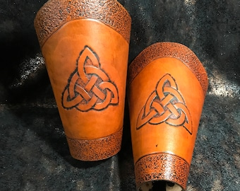 Handmade Leather Arm Cuffs with Ancient Celtic Markings (In Tan)
