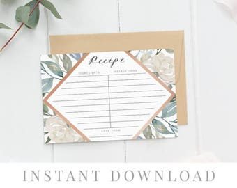Recipe cards printable, INSTANT DOWNLOAD, Printable Recipe Card, Bridal Shower Recipe Card, DIY Recipe Cards Rustic Recipe Cards - Papillion