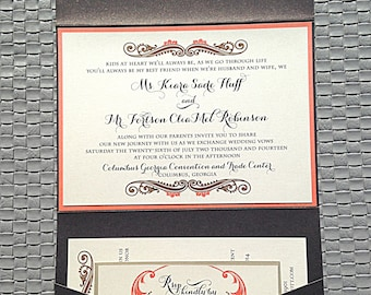 Wedding Invitation, Coral Wedding , Chocolate Invitation, Pocket Fold Invite- Sample