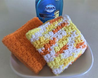 Orange and Multicolor Crochet Dish Cloths -  A set of 2 Hand Crochet Dish/Wash/Face Cloths -  Housewarming Gift Basket Idea
