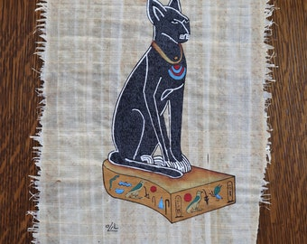 Egyptian cat on papyrus - hand painted