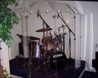 Drum Shield Drum Screen DS6D Six Drum Panels 2ft Wide x 5 ft tall with Deflectors Total Height 6ft