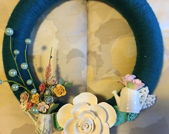 Wreath Watering Cans Porcelain Flowers