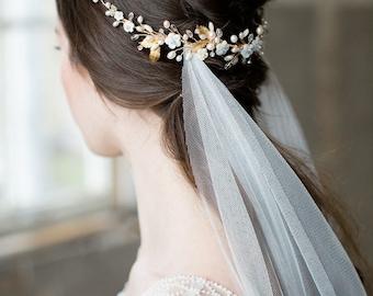 bridal headpiece, gold halo, gold crown, wedding halo, wedding crown, bridal crown, wedding headpiece, floal headpiece - ANASTASIE