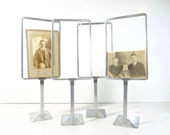 Vintage Store Price Sign Holder / Metal Store Display Frame Stand Holders / Industrial Decor