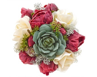 Stemple's Gatherings-Real Touch Burgundy Peonies, Ivory Roses, Succulents, Dusty Miller, Seeded Eucalyptus-In a vase or as a wedding bouquet