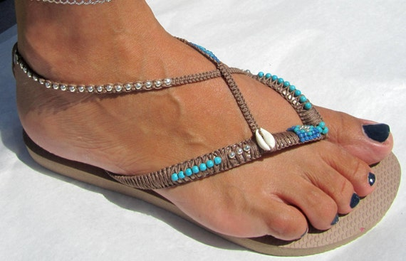 100 Thong Sandals on Flats based Beaded Gold Turquoise Bracelet with Decorated Rose Flop Handmade Ankle Flip Bohemian Havaianas qwxBqaYX7