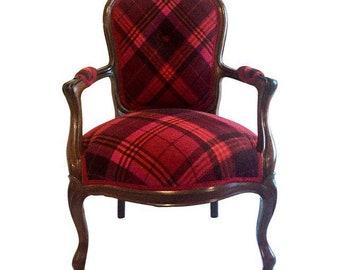 Plaid Cashmere Bergere Chair