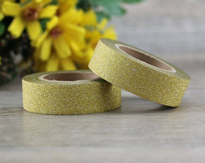 Light Gold Glitter Washi - Gold Glitter washi Tape -  Glitter Washi Tape - Paper Tape - Planner Washi Tape - Washi - Light Gold Washi