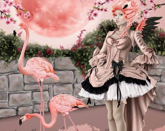 Pink Flamingo Pink Fairy Pink Rococo Ball Gown Pink Moon - Fantasy Fine Art Print