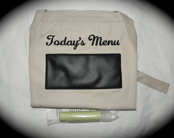"""Real Chalkboard APRON Today's Menu Embroidered Kitchen BBQ Barbecue 34"""" Ready to Ship rts"""