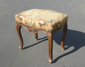 Vintage French Provincial Aubusson Tan Floral Tapestry Bench Stool w Cabriole Legs