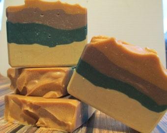 Manly soap, layered soap, green tea soap, great smelling soap, desert soap, soap for men, hostess gift