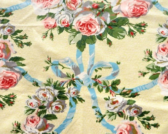 Vintage pink roses and blue ribbons glazed cotton fabric remnant, 57 x 60""