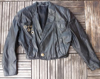 leather jacket / short 80'