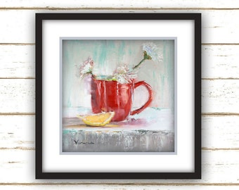 Red Cup with Lemon - Painting Print