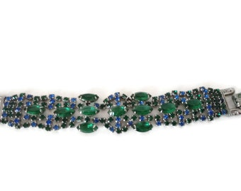 Blue And Green Rhinestone Bracelet