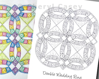 Printable Coloring Page - Quilt: Double Wedding Ring - Cheryl Casey Art - Digistamp, Digital Stamp