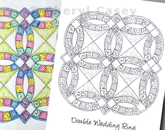 printable coloring page quilt double wedding ring cheryl casey art digistamp digital stamp from cherylcaseyart on etsy studio - Coloring Page Quilt