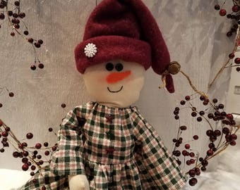 Snow girl,Snow lady,Country Snow Girl,Snow doll,Snow lady shelf sitter,Christmas doll ,Holiday decor,Winter decor,Christmas shelf sitter