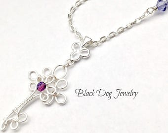 Silver Wire Wrapped Key Necklace with Amethyst Crystal - Lock and Key Jewelry - January Birthstone - February Birthstone