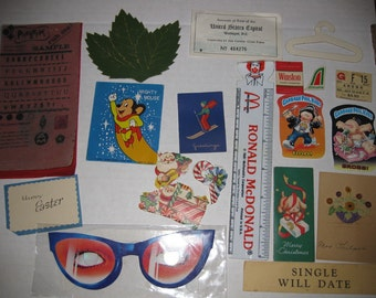 Vintage Paper Ephemera Xmas Mighty Mouse Sticker Lot Supplies Altered Art