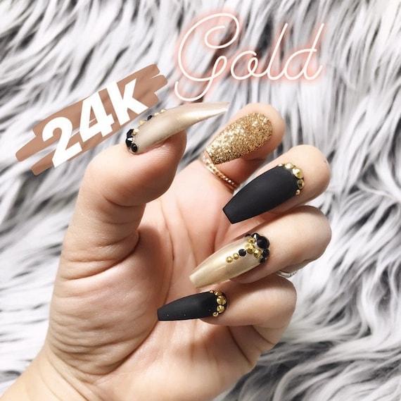 Matte Black 24K Gold Glitter Chrome Swarovski Crystal Nail