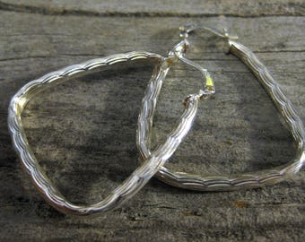 1 1/2 inch Triangular TEXTURED HOOP EARRINGS, sterling silver. Big bright look, but comfortable & easy to wear.