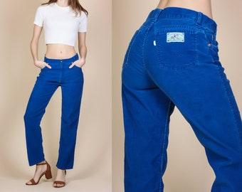 Vintage Levis Corduroy Pants - Medium // 70s Straight Leg Blue Trousers