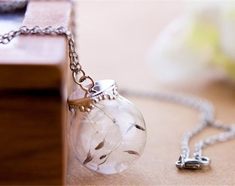 Silver dandelion necklace Pendant, dandelion seed glass ball necklace, Make a wish necklace 801001