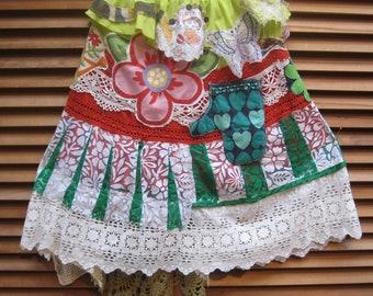 mybonny HONEY BUN SKIRT  * Boho Hippie Chic - Vintage Embroidery Doily - Wearable Fabric Folk Art Collage  - Artsy Artist Clothing  Wear