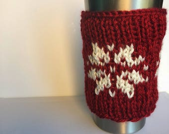 Snowflake Travel Mug Sleeve - coffee cup cozy - knit mug cozy