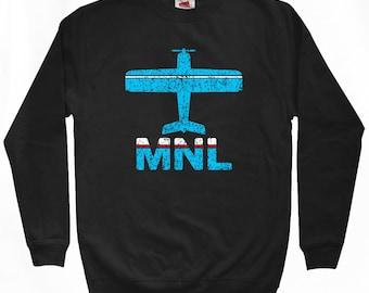 Fly Manila Sweatshirt - MNL Airport - Men S M L XL 2x 3x - Manila Philippines Shirt - 2 Colors