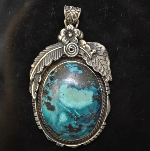 Sterling Silver Tibetan Turquoise Pendant Native American Style #9890