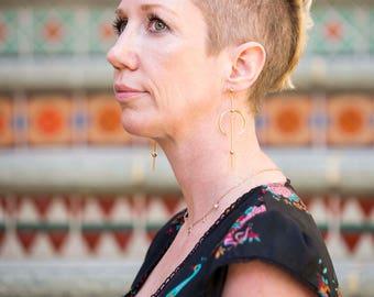 Gold Earrings Dangle Modern , Minimalistic Jewelry