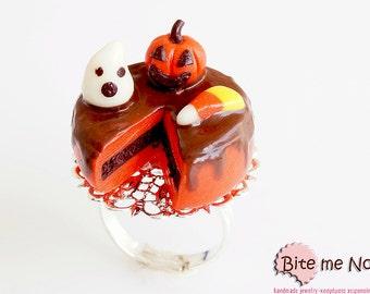 Polymer Clay Sweets Halloween Mini Cake Ring, Mini Food, Kawaii jewelry, Miniature Sweets, Food Jewelry, Miniature Food, Cute Jewelry