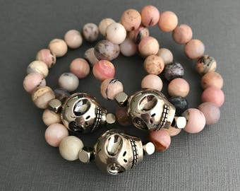 Skull Bracelet, Skull Pink Opal Gemstone Bracelet, October Birthday Gifts, Opal Bracelet, Opal Jewelry
