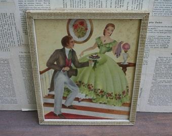 Vintage 1930 Southern Belle and Gentleman Framed Art by Averill