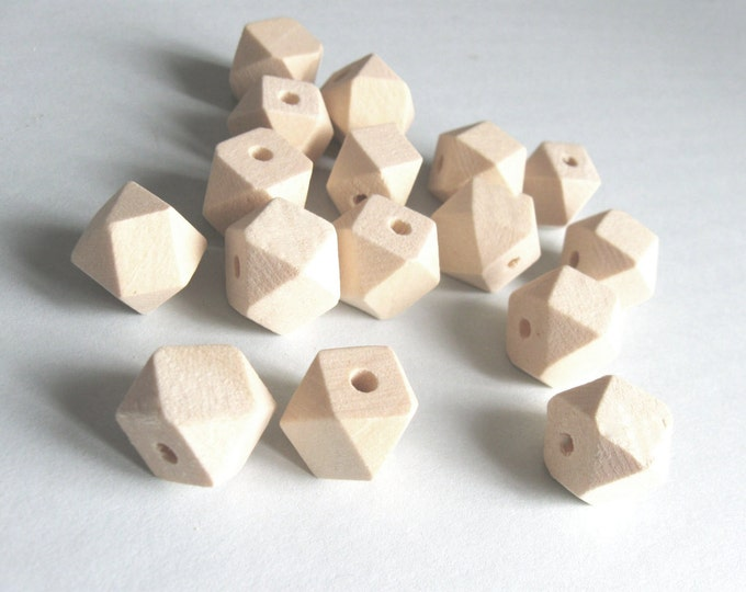 Featured listing image: 10 Faceted hexagon unfinished wood beads 10, 12 or 14mm