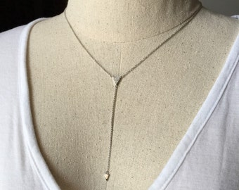 CZ Drop Triangle Necklace in Silver, Dainty Necklace