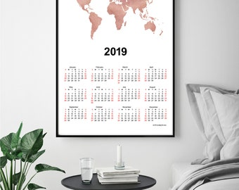 Wall calendar 2019 world map print wanderlust gift world map rose gold world map wall calendar 2019 travel gift home wall decor holiday gift housewarming gift office calendar 2019 instant download gumiabroncs Images