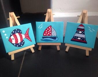Set of 3 nautical mini canvases