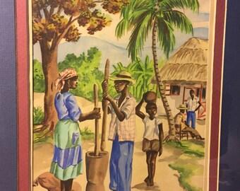 Haitian artist D. Duclair watercolor painting - Rural Village Scene - Vintage